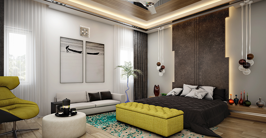 Bedroom Interiors Design Colors, Wall Décor, Furnitures